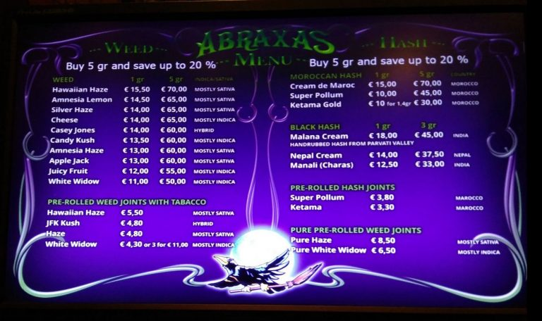 Prices in the coffee shop Abraxas