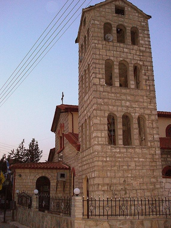The bell tower of the church in Kriopigi