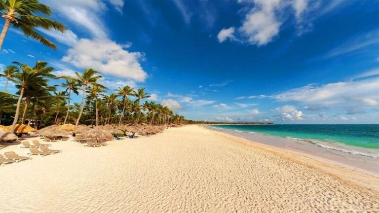 View of the deserted beach of Bavaro