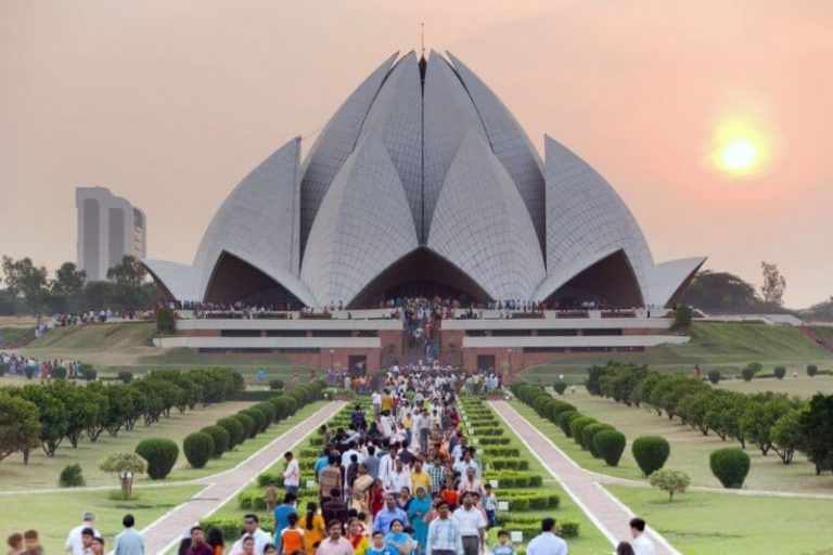 The line to the Lotus Temple