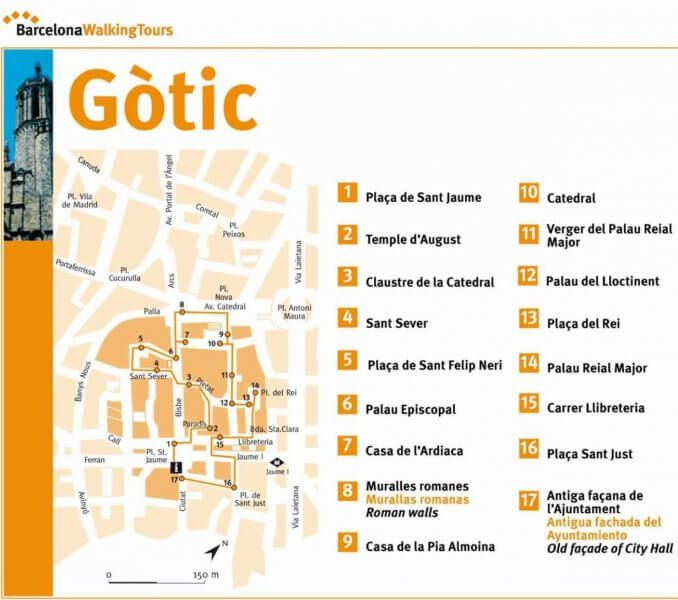 Map of the Gothic Quarter in Barcelona