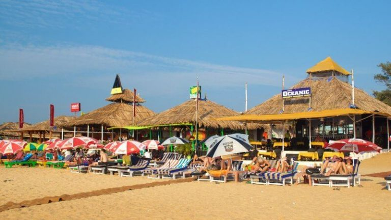 Thatched arbors on Baga beach