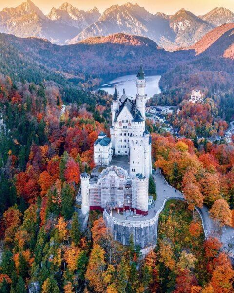 View of Neuschwanstein Castle in late autumn