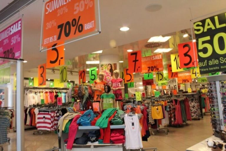 Sales in stores
