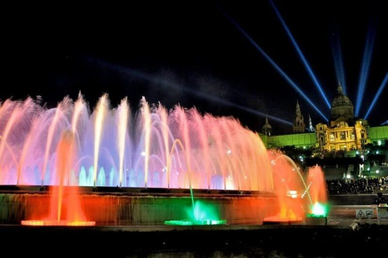 Montjuic Fountain in the evening