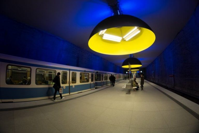 Huge lamps in the subway