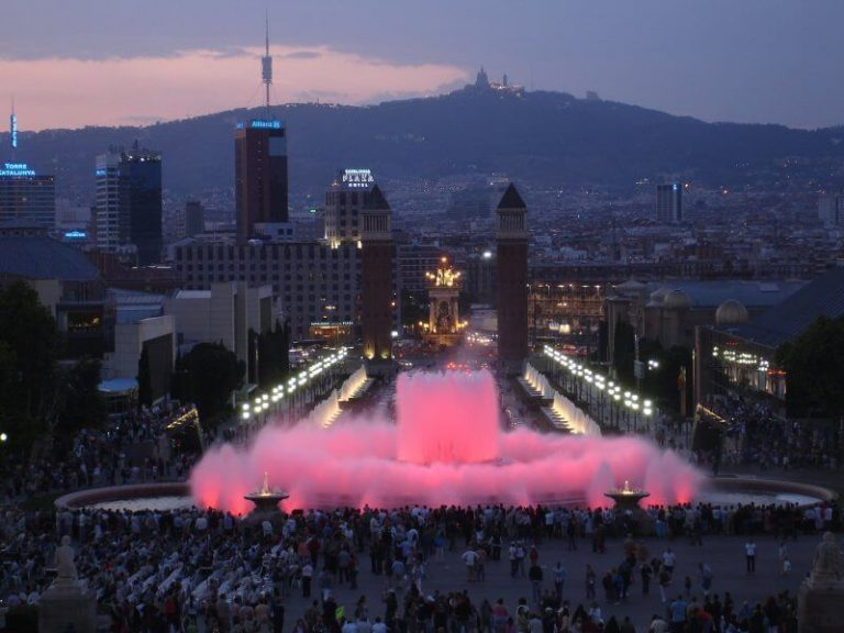 View of the fountain of Montjuic