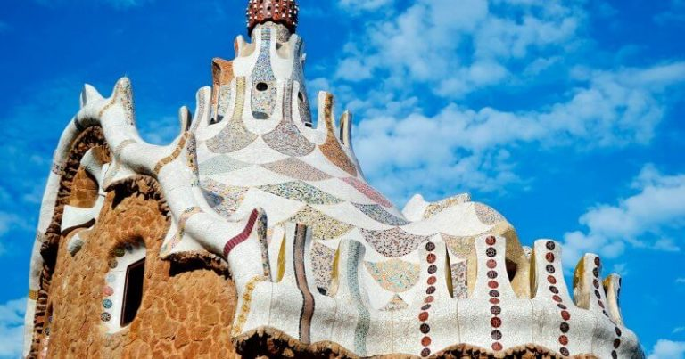 The roof of the building in the Park Guell Antonio Gaudi