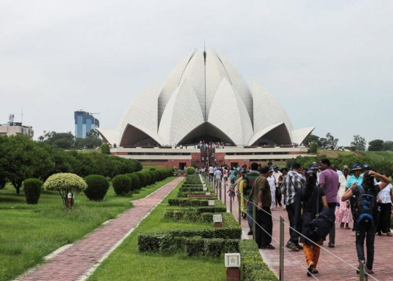 Tourists near the Lotus Temple