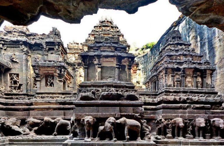 Statues of elephants near the temple in Ellora