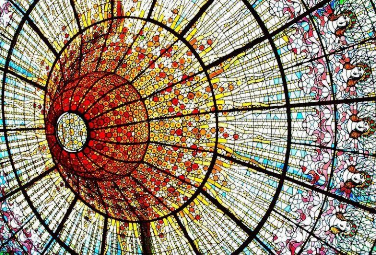 Stained glass ceiling in the palace of Catalan music
