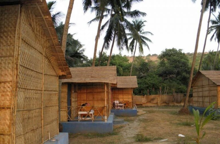 Huts on Ashvem Beach