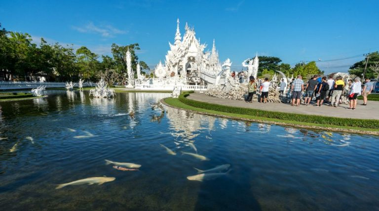 White Temple Pond with fish