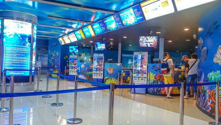 The queue at the Siam Ocean World box office in the morning