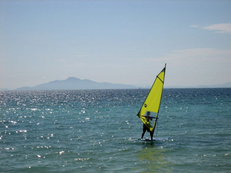 There are good conditions for quality windsurfing.