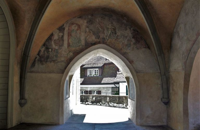 Frescoed arched entrance