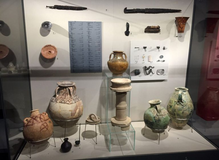 Artifacts in the museum building