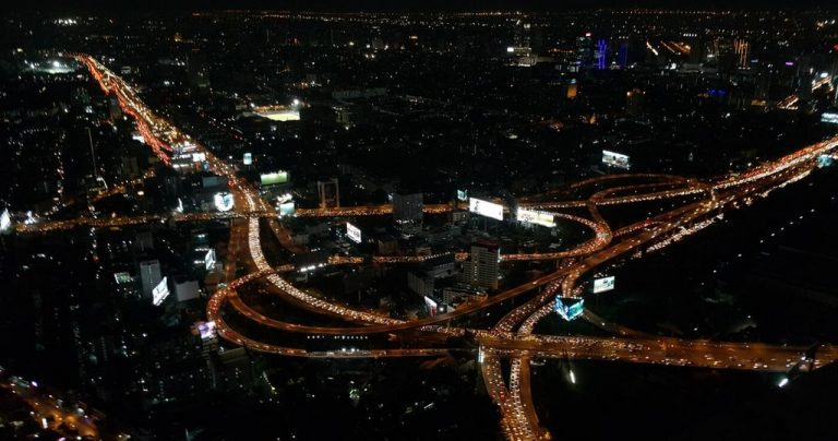 Bangkok night view from Baiyoke Sky observation deck