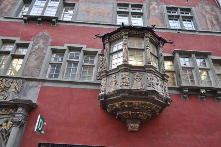 Bay window on a building in the old town
