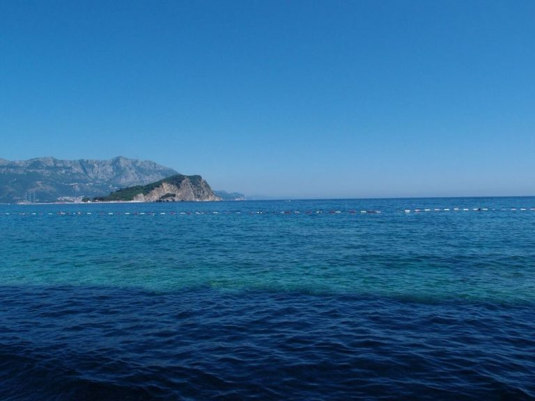 From the beaches of Mogren, a view of the island of St. Nicholas