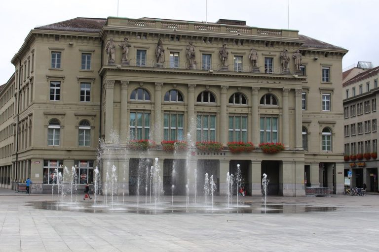 View of the fountains in the Bundesplatz