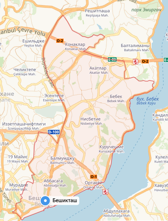 Besiktas district on the map of Istanbul