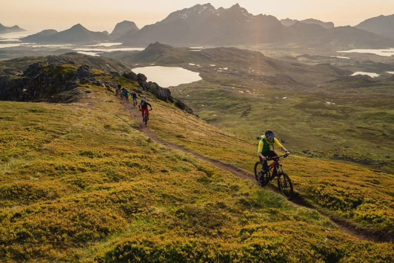 Cycling in the mountains of Lofoten