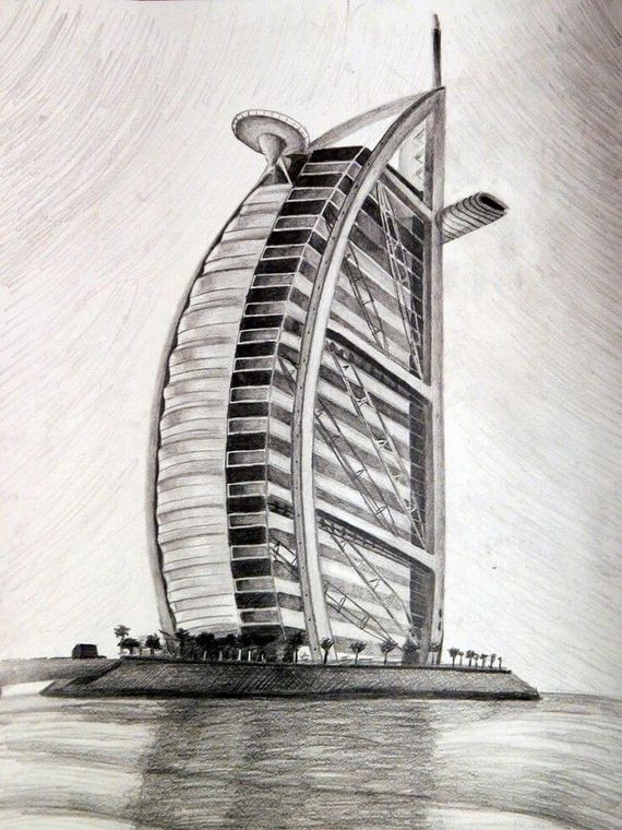 Outline of the project of the hotel Burj Al Arab