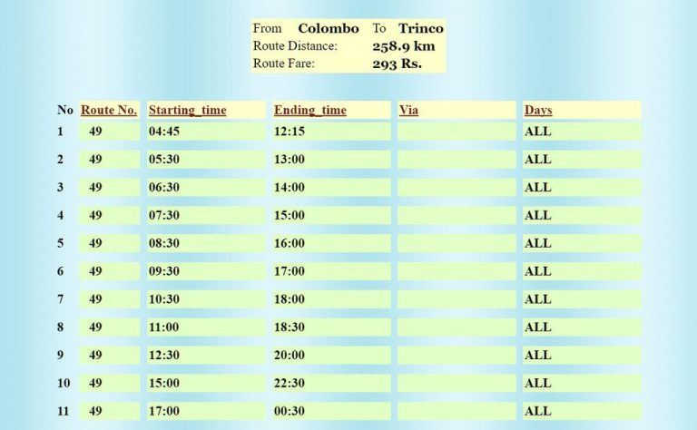 Bus schedule Colombo Trincomalee