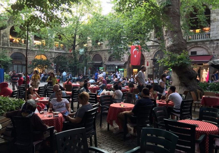 Cafes in the courtyard of Koza Hani