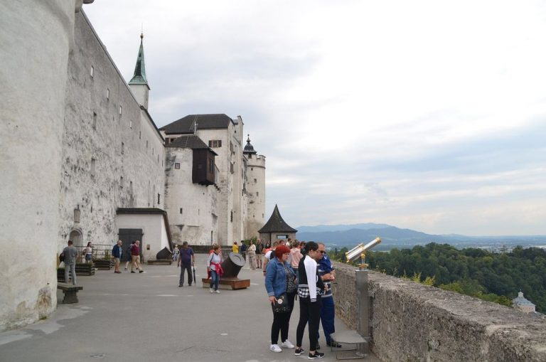 Tourists in the castle