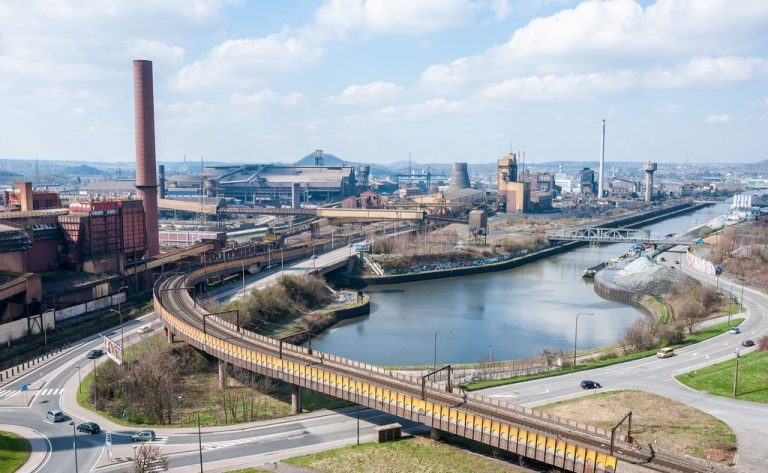 The industrial city of Charleroi on the banks of the Sambre River