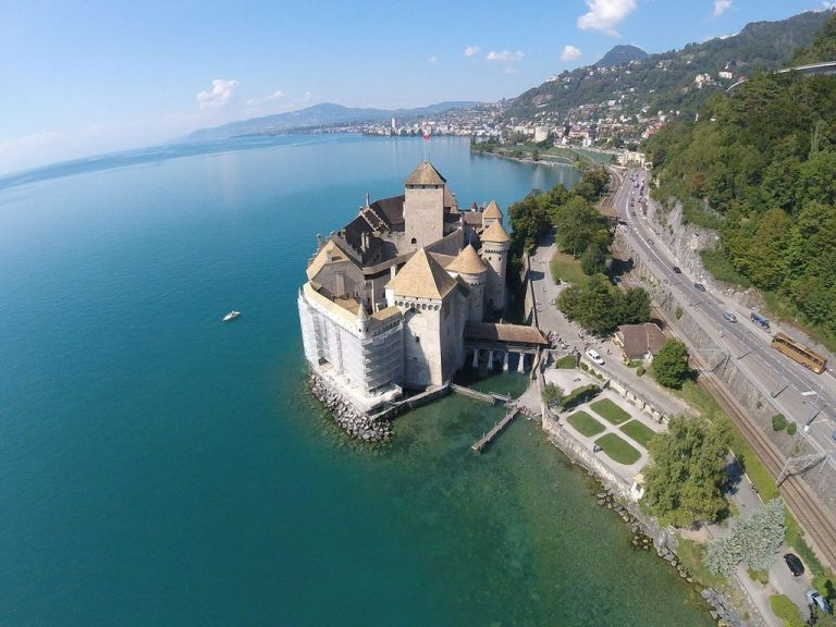 Chillon castle, aerial view