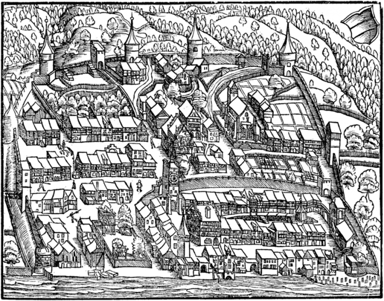 Image of Zug in the chronicle of Johan Stumpf, 1548.