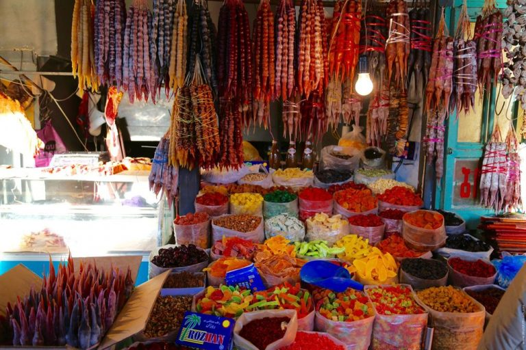 Churchkhela and dried fruits in the central market of Tbilisi