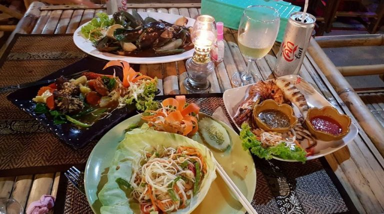 Dinner at a cafe on Railay Beach