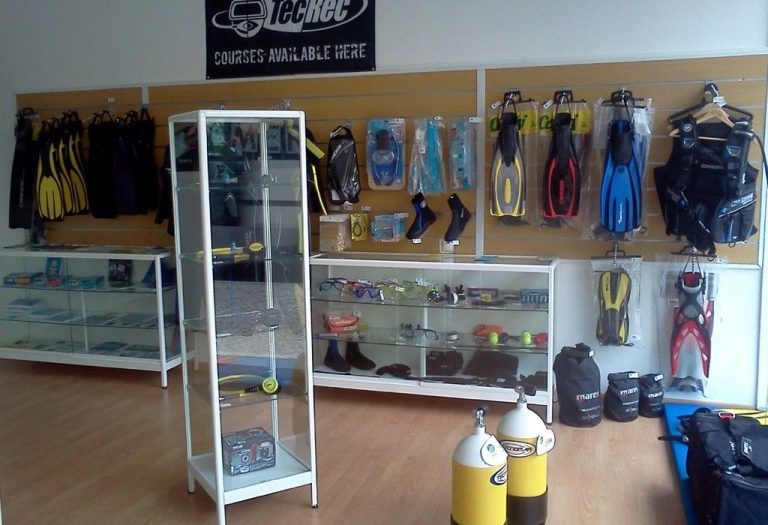 Room with diving equipment