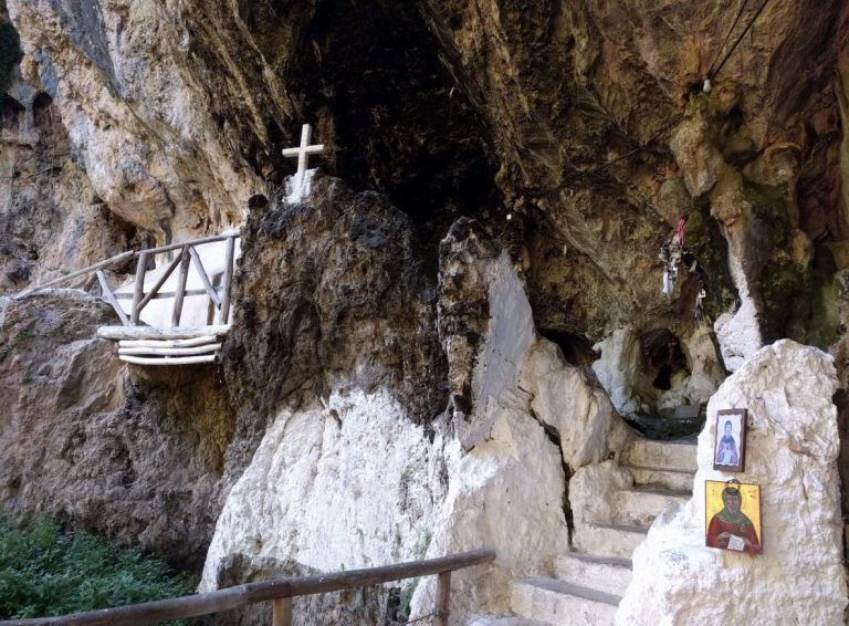 Entrance to the cave church of St. Anthony