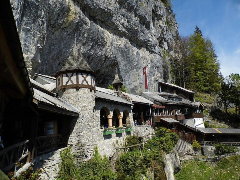 The entrance to the caves lies through the restaurant