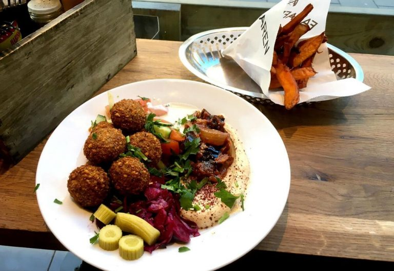 Falafel Salad and French Fries