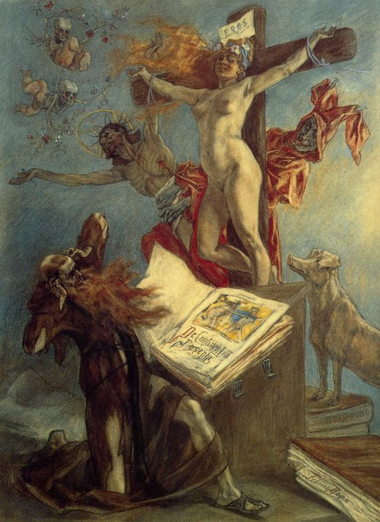 Painting The Temptation of St. Anthony Felicien Rops