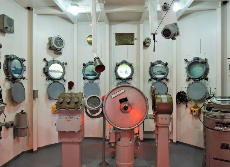 Hall simulates the cabin of a submarine