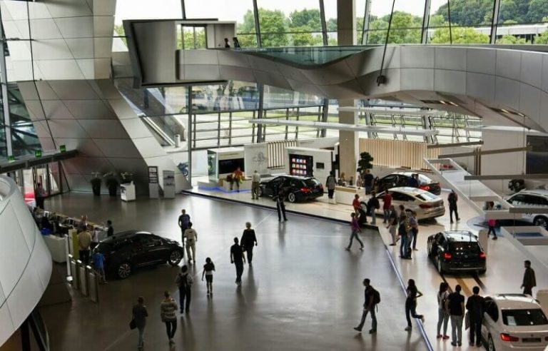 Tourists at the BMW Museum
