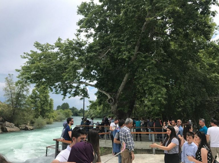 In high season, Manavgat waterfall is teeming with tourists