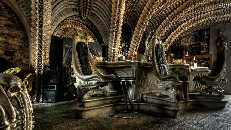 The interior of the bar at the Giger Museum