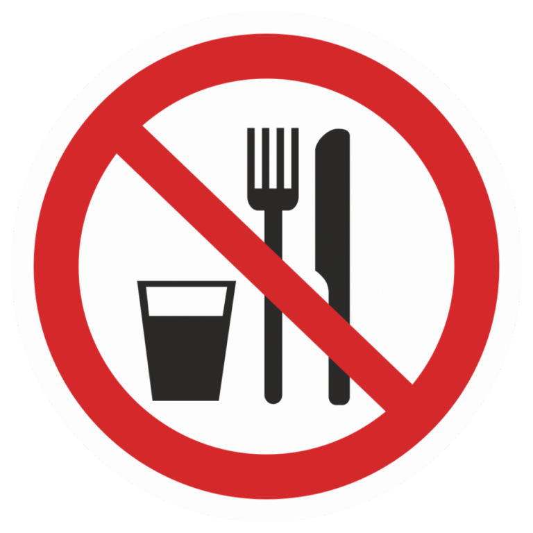 It is forbidden to eat and drink