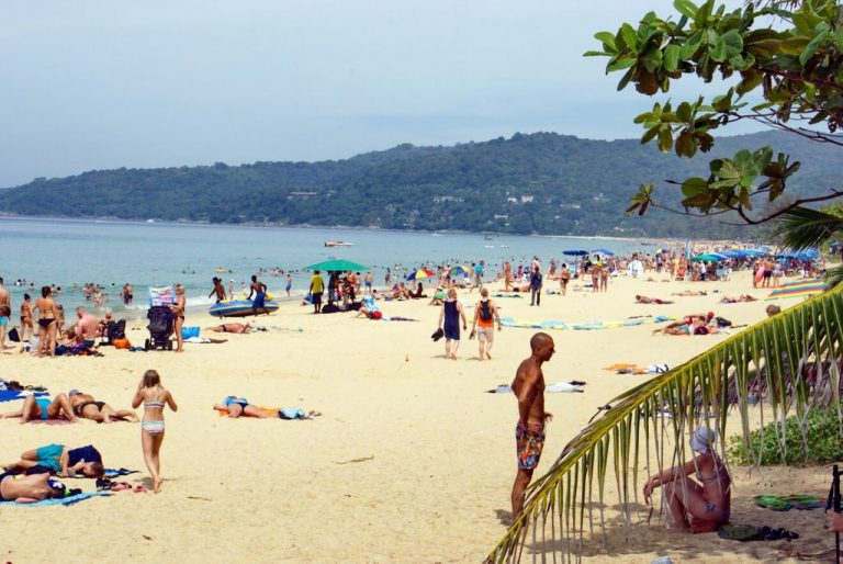 Holidaymakers on the beach