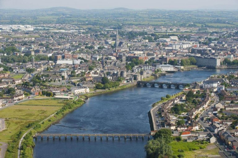 Limerick on the west coast of the Shannon River