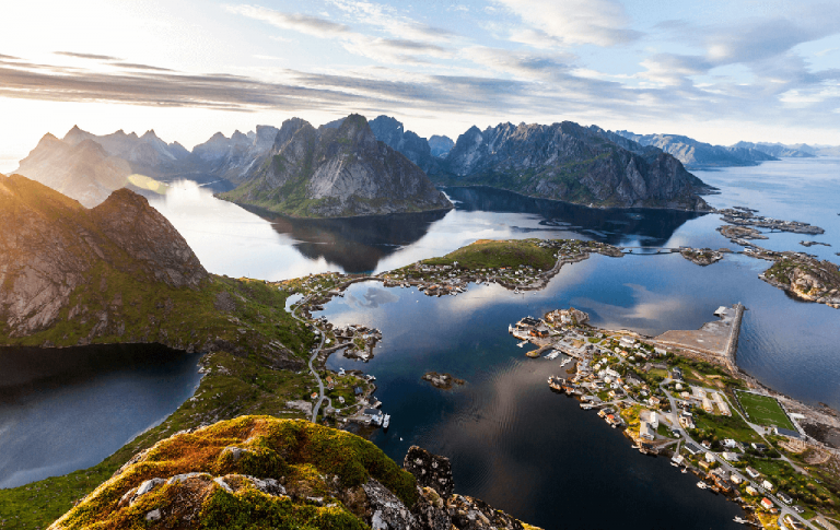 Photo: view of Lofoten from the mountain, summer