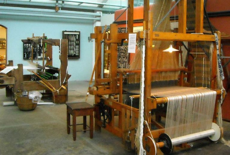 Weaving looms at the Herning Textile Museum